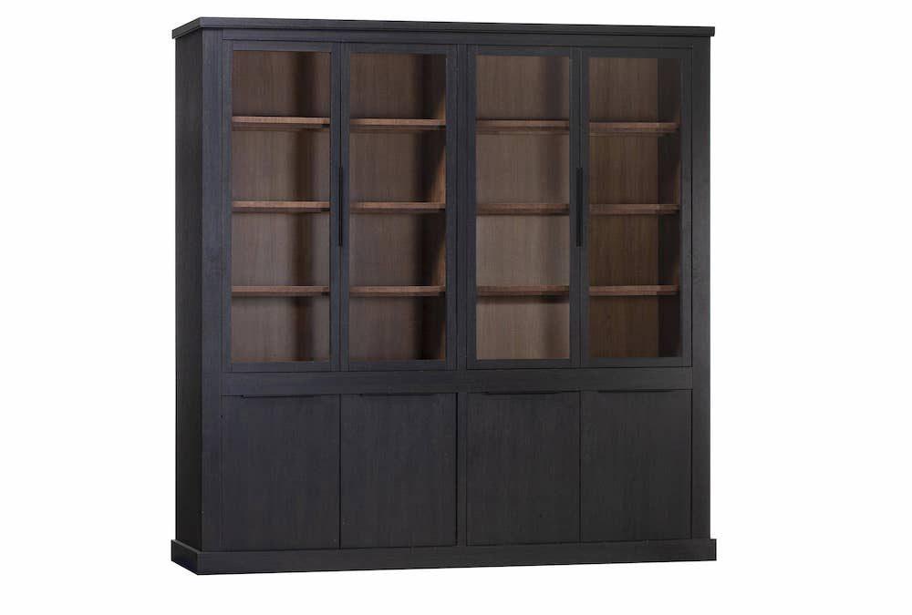 Zwarte vitrinekast, softclose deuren, 220cm